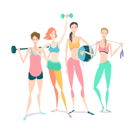 fitball: Vector illustration Group of Beautiful smiling young women standing holding fitness dumbbel, barbell, fitball wearing sport clothing bra, shorts, tights at gym Illustration