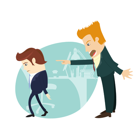 Vector illustration You are fired! Angry businessman screaming and pointing on the manager at their office. Flat style