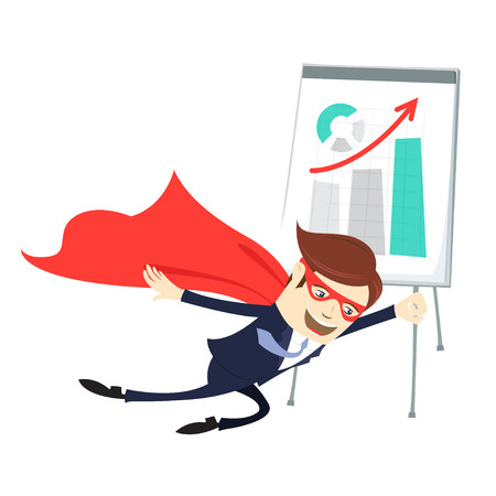 Vector illustration Business man   flying in front of flipchart with graphic arrow up. Flat style Illustration