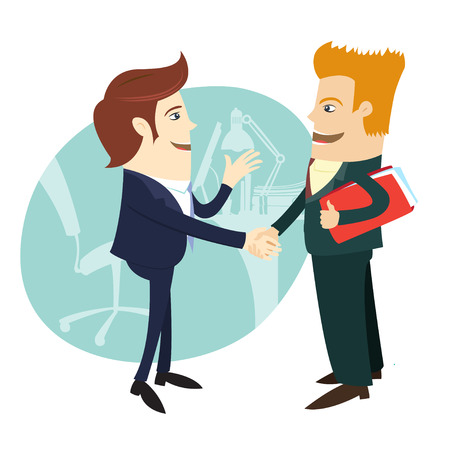 Vector illustration Businessmen handshaking and making a deal in front of their office. Flat style Illustration