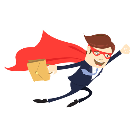 Vector illustration Business man  flying with case. Flat style