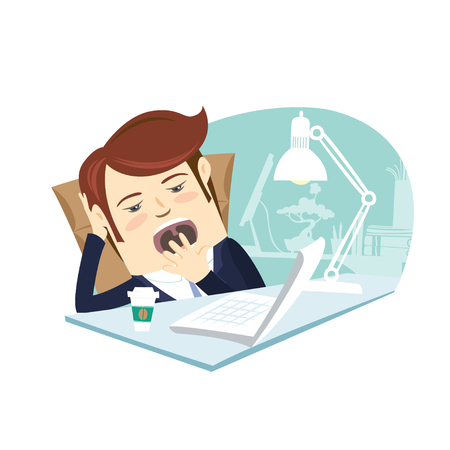 yawning: Vector illustration Funny business man yawning at his workplace. Flat style