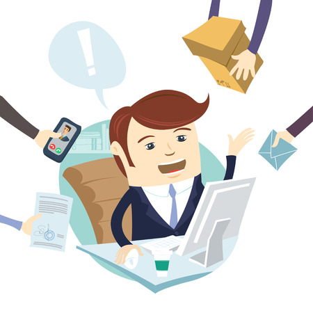 telephone cartoon: Vector illustration Business man receiving gifts or new jobs Illustration