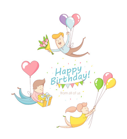 balloon bouquet: Vector illustration Happy birthday party greeting card invitation funny people characters flying with baloons, presents, flowers. Line flat design kids style