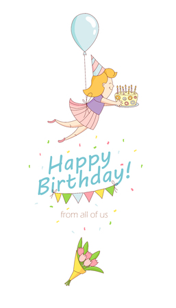 party girl: Vector illustration Happy birthday party greeting card invitation funny girl character flying with balloon and birthday cake with candles. Line flat design kids style