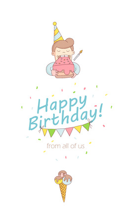 Vector Illustration Happy Birthday Party Greeting Card Invitation