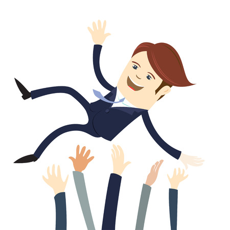 threw: Vector illustration Happy business man wearing suit threw in the air by his team Colleagues. Flat style