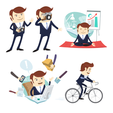 Vector illustration Funny business man wearing suit doing yoga, working hard, taking picture and cycling at his office workplace. Flat style, white background