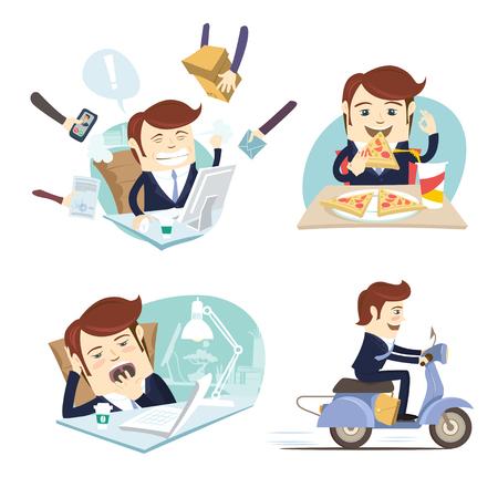ilustración vectorial hombre de negocios divertido que desgasta traje de comer pizza, trabajando duro, durmiendo y bostezando y monta la vespa en su lugar de trabajo de oficina. estilo plano, fondo blanco