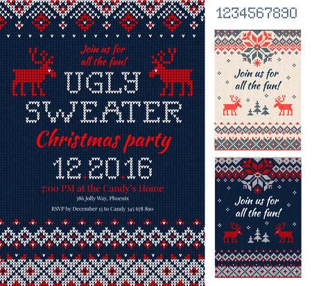 Merry Christmas Party Zaproszenia z dzianiny wzory i ozdoby w stylu skandynawskim z jelenie. Ugly Sweter Christmas Party. Przednia i tylna strona. Płaski styl