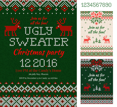 Merry Christmas Party Invitation cards with knitted patterns and ornaments in scandinavian style with deers. Ugly Sweater Christmas Party. Front and back sides. Flat style