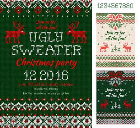 Merry Christmas Party Uitnodigingskaarten met gebreide patronen en ornamenten in Skandinavische stijl met herten. Lelijke Kerstnacht met Sweaters. Voor- en achterkant. Vlakke stijl