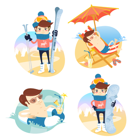 water  skier: Funny man sunbathing on the beach with cocktail and swimming with rubber ring. Summer vacations at the sea. Funny skier and snowboarder standing in front of slopes with their ski and snoeboard wearing knitted hat and sweater with deers. Winter holidays in