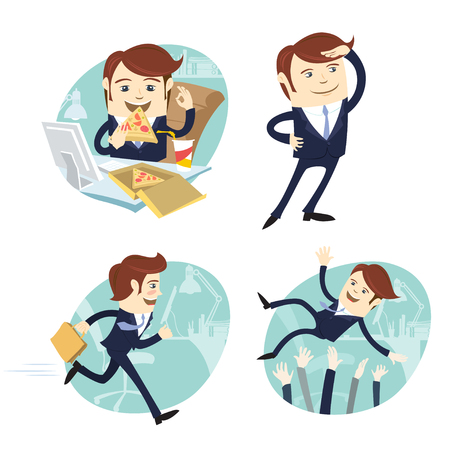 Vector illustration Funny business man wearing suit eating pizza, looking forward, running and being trew in the ar by his collegues at his office workplace. Flat style, white background Illustration