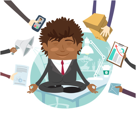 man meditating: Funny Confident black business man wearing suit sitting calm on table and meditating at his office. Multitasking hard working day. Flat style design set. Vector Illustration. Illustration