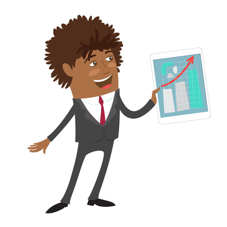 man: Funny Confident black business man wearing suit hold tablet computer with development graphic and smile. Flat style design set. Vector Illustration.
