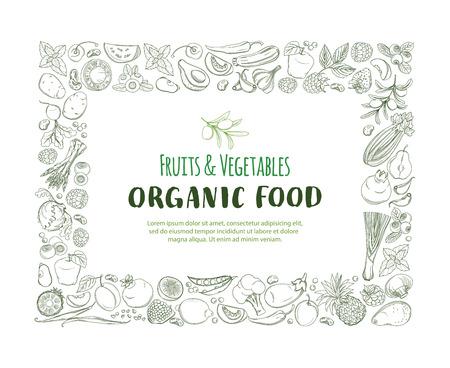 Rechthoek Frame randpatroon van boodschappen biologische boerderij verse groenten en fruit op witte achtergrond.