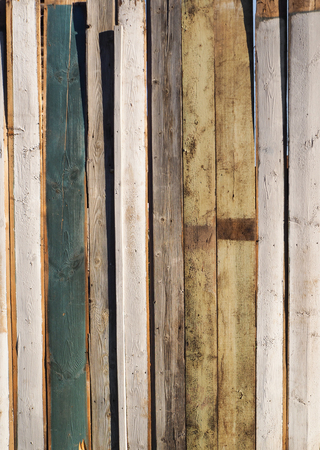 Painted fence Light Wood panel background. Old vintage planked vertical wooden texture. Boards empty clear background for flat lay photo design Stock Photo - 78339415