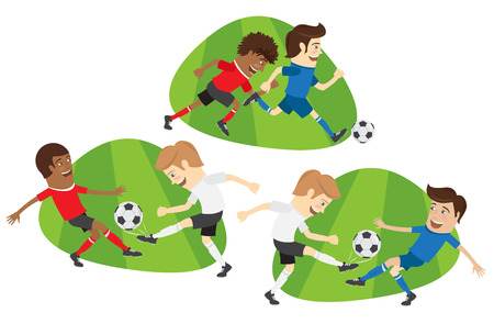 Set of Funny football soccer players team playing on the soccer grass field with football ball. White, red, blue t-shirts and shorts. Flat style design set. Vector Illustration. Иллюстрация