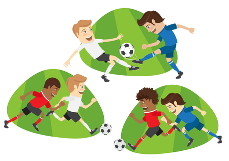Set of Funny football soccer players team playing on the soccer grass field with football ball. White, red, blue t-shirts and shorts. Flat style design set. Vector Illustration. Illustration