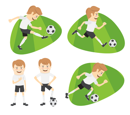 Set of Funny football soccer players team playing on the soccer grass field with football ball. White t-shirts and black shorts. Flat style design set. Vector Illustration.