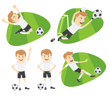 hymn: Set of Funny football soccer players team playing on the soccer grass field with football ball. White t-shirts and black shorts. Flat style design set. Vector Illustration.
