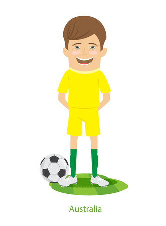 2017  Confederations Cup Australia teams uniform. Set of Funny football soccer players characters standing on the soccer grass field with ball. Flat style design. Vector Illustration.