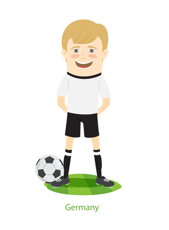 2017 FIFA Confederations Cup Germany teams uniform. Set of Funny football soccer players charackters standing on the soccer grass field with ball. Flat style design. Vector Illustration.