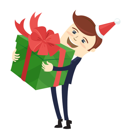 Funny male character wearing holiday christmas cap holding a green present gift box wrapped with red ribbon. Vector illustration