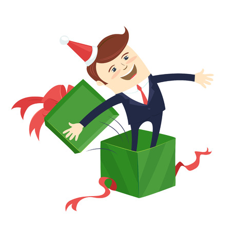 Funny male character wearing holiday christmas cap emerge jump from a green present gift box wrapped with red ribbon. Vector illustration Illustration