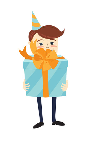 Funny male character wearing holiday cap holding a blue present gift box wrapped with orange ribbon. Vector illustration Illustration