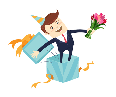 Funny male character wearing holiday cap emerge jump from blue present gift box wrapped with orange ribbon. Vector illustration