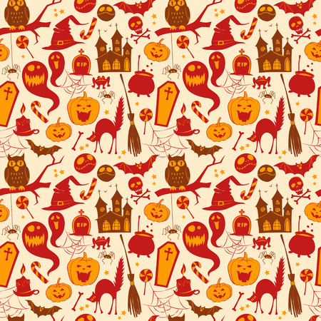 silueta de gato: Vector illustration Funny cute colored seamless background abstract pattern for halloween Vectores