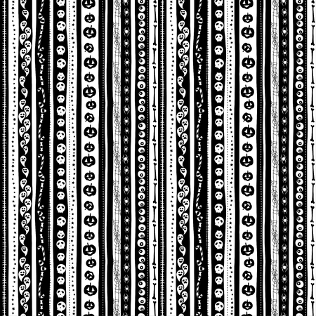 Vector illustration Funny cute scary black and white seamless background abstract pattern for halloween party with pumpkin, candy, ghost, spider, scull and bones. Flat silhouette style Çizim
