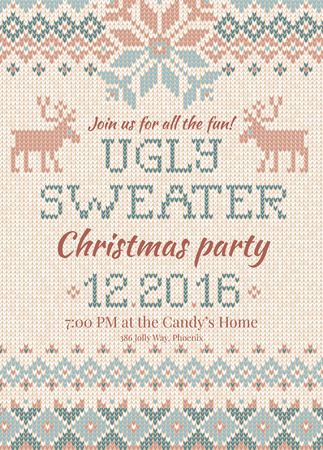 Ugly sweater Christmas party invite. Vector illustration Handmade knitted background pattern with deers and snowflakes, scandinavian ornaments. White, beige, brown, blue colors. Flat style Ilustração