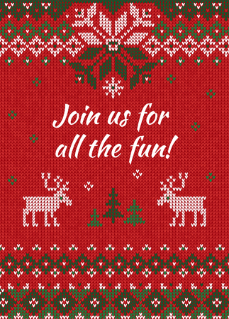 Ugly sweater Christmas party invite. Vector illustration Handmade knitted background pattern with deers and snowflakes, scandinavian ornaments. White, red, green colors. Flat style
