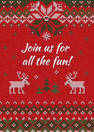 못생긴 스웨터 크리스마스 파티 초대. 벡터 일러스트 레이 션 수 제 니트 배경 무늬 deers와 눈송이, 스 칸디 나 비아 장식품. 흰색, 빨간색, 녹색 색상입니다. 플랫 스타일