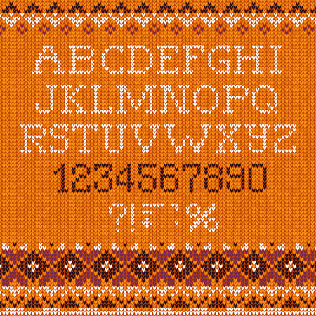Handmade knitted pattern with font alphabet letters and numbers Illustration