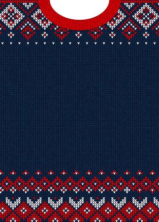 Hässliche Strickjacke Frohe Weihnachten und Happy New Year Grußkartenvorlage. Vektorabbildung Handgemachtes gestricktes Hintergrundmuster mit skandinavischen Verzierungen. Weiße, rote, blaue Farben. Flachen Stil