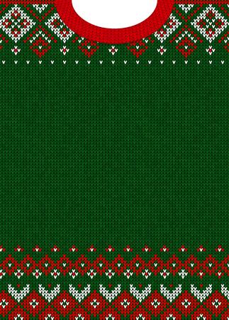 Hässliche Strickjacke Frohe Weihnachten und Happy New Year Grußkartenvorlage. Vektorabbildung Handgemachtes gestricktes Hintergrundmuster mit skandinavischen Verzierungen. Weiße, rote, grüne Farben. Flachen Stil Vektorgrafik