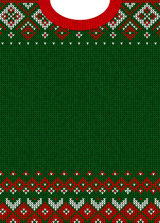Ugly sweater Merry Christmas and Happy New Year greeting card template. Vector illustration Handmade knitted background pattern with scandinavian ornaments. White, red, green colors. Flat style Ilustracja
