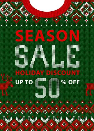 Navidad y año nuevo invierno venta descuento banner. Suéter feo Ilustración vectorial Patrón de fondo de punto hecho a mano con adornos escandinavos. Blanco, rojo, verde. Estilo plano