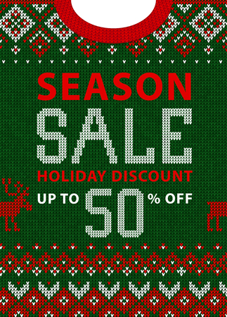 Christmas and New Year winter sale discount banner. Ugly sweater. Vector illustration Handmade knitted background pattern with scandinavian ornaments. White, red, green colors. Flat style