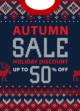 Autumn fall season sale discount banner. Ugly sweater. Vector illustration Handmade knitted background pattern with scandinavian ornaments. White, red, blue colors. Flat style
