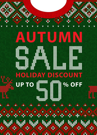 Autumn fall season sale discount banner. Ugly sweater. Vector illustration Handmade knitted background pattern with scandinavian ornaments. White, red, green colors. Flat style