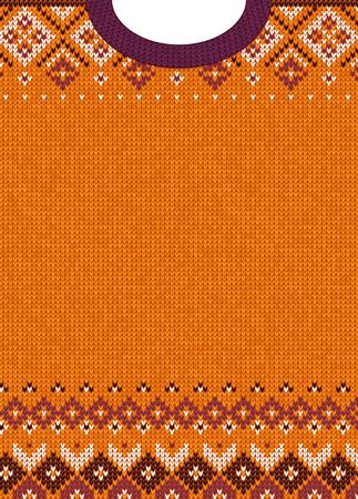 추한 스웨터 기쁜 성 탄과 새 해 인사말 카드 서식 파일. 벡터 일러스트 레이 션 스 칸디 나 비아 장식품 수 제 니트 배경 무늬입니다. 흰색, 보라색, 주