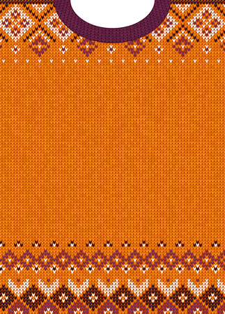 Ugly sweater Merry Christmas and Happy New Year greeting card template. Vector illustration Handmade knitted background pattern with scandinavian ornaments. White, purple, orange colors. Flat style