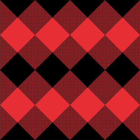 Red and Black Tartan plaid seamless abstract checkered pattern background for Christmas , Wedding, Birthday design cards/ Flat style vector illustration.  イラスト・ベクター素材