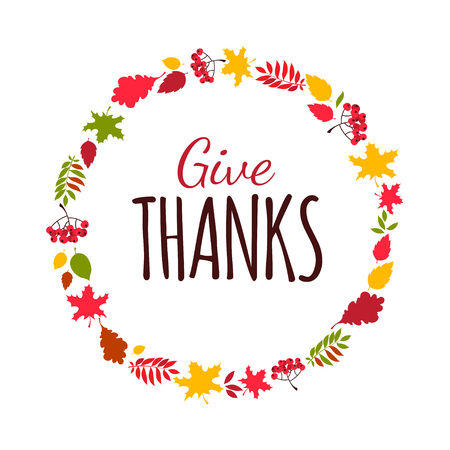 Płaska konstrukcja stylu Happy Thanksgiving Day napis Typografia plakat. Szczęśliwy dzień Dziękczynienia szablon karty z pozdrowieniami, baner, ulotka. Jesienne jesienne liście i zbiory jagód