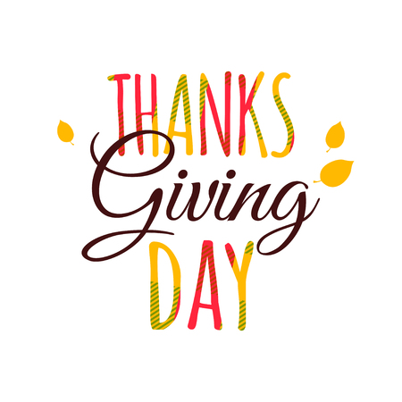 Flat design style Happy Thanksgiving Day typography poster. Happy Thanksgiving Day greeting card template. Eat, drink and be thankful banner, flyer. Skottish plaid tartan pattern lettering Illustration
